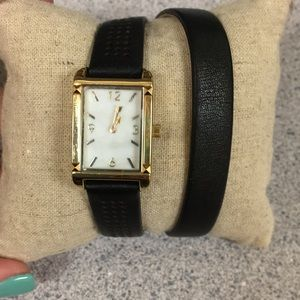 Stella & Dot genuine leather wrap watch